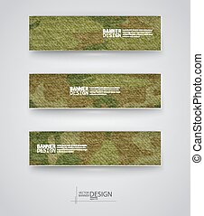Set of abstract banner with khaki background. Vector illustration.