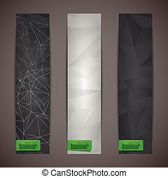 set of abstract banners with black triangles