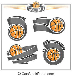 Set of abstract basketball balls