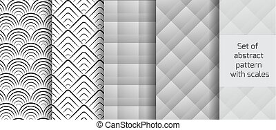 Set of abstract black and white patterns with scales.