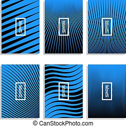 Set of abstract black stripes brochure design