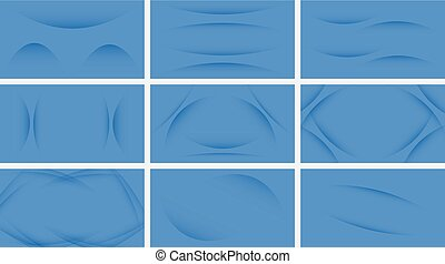 Set of abstract blue curve background with copy space for text.