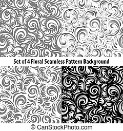 Set of abstract blue seamless patterns, vector background