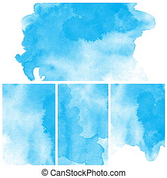 Set Of Abstract blue watercolor