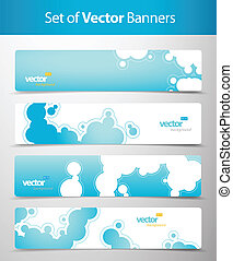Set of abstract blue web headers.