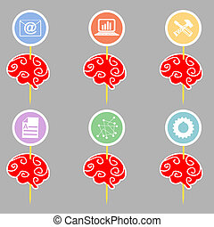 Set of abstract brains with symbols  infographics. Vector illust