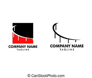 Set of Abstract bridge logo design template