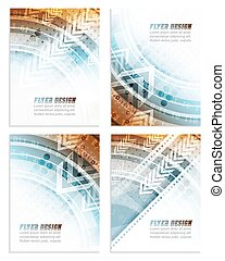 Set of abstract business flyer template with technological pattern, corporate banner or cover design. Vector illustration.