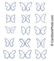 set of abstract butterflies