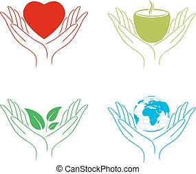 Care Hands - Set of Abstract Care Hands: World, Food, Eco,...