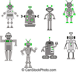 Set of abstract cartoon robots