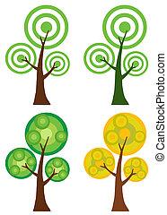 Set Of Abstract Cartoon Tree