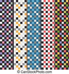 Set of abstract checkered patterns