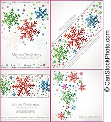 Set of abstract christmas background with the color snowflakes