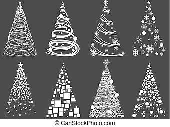 Set of Abstract Christmas Tree