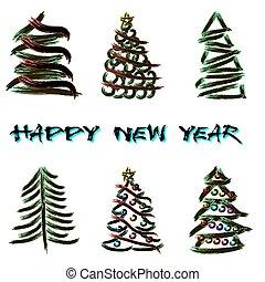 Set of abstract Christmas trees
