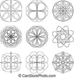 Set of Abstract Circular Geometric Shapes.