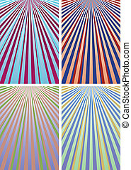 Set of abstract colorful backgrounds with strips, part 12, vector illustration