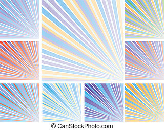 Set of abstract colorful backgrounds with strips, part 10, vector illustration.