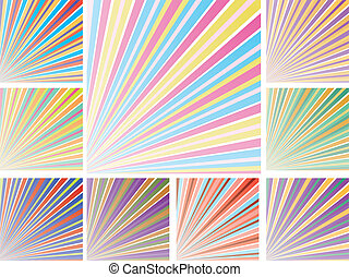 Set of abstract colorful backgrounds with strips, part 9, vector illustration