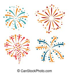 Set of abstract colorful fireworks and salute.