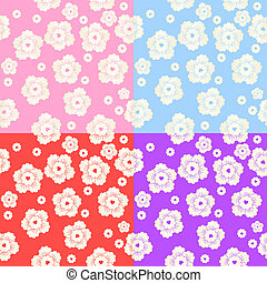 Set of Abstract Colorful Floral Pattern