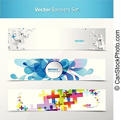 Set of abstract colorful headers.