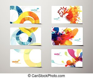 Set of abstract colorful splash and circle gift cards.