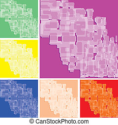 Set of abstract colorful spotted backgrounds, part 18, vector illustration