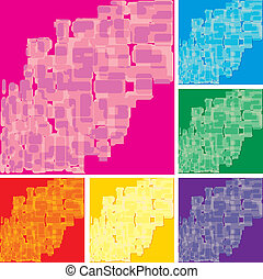 Set of abstract colorful spotted backgrounds, part 17, vector illustration