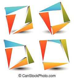 Set of abstract, colorful square icons, logotypes made of triangles. Vector.
