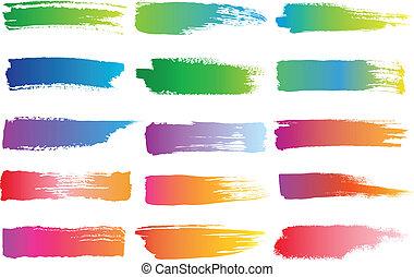 watercolor brush strokes, vector