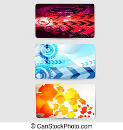 set of abstract colorful wave business card set design