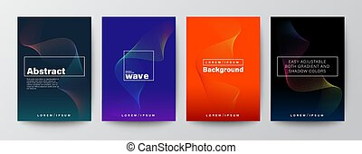Set of abstract colorful wave shape on colors background for Brochure, Flyer, Poster, leaflet, Annual report, Book cover, Banner. Graphic Design Layout template, A4 size