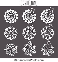 Set of abstract cute dandelions. Vector illustration template