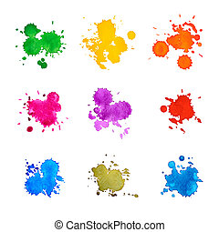 Set of Abstract Drops Watercolor Hand Drawn and Painted, Isolated on White