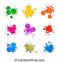 Set of Abstract Drops Watercolor