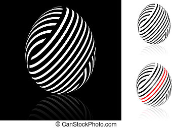 Set of abstract Easter egg with black, white and red stripes