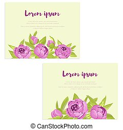 Set of abstract elegance cards with purple peonies for wedding invitation, marriage card, congratulation banner, advertise
