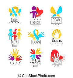 Set of abstract emblems with ribbons, humans and hands. ...