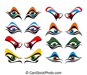 Set of abstract eyes on a white background.