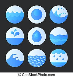 Set of abstract flat water icons