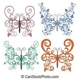 Set of abstract floral butterfly