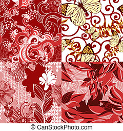 Set of abstract floral seamless patterns.