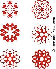 set of abstract flower design elements