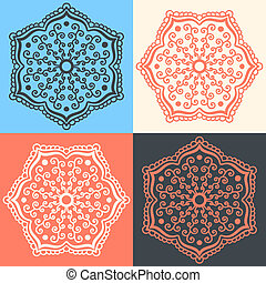 Set of abstract flowers in different colors
