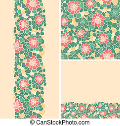 Set of abstract flowers seamless pattern and borders backgrounds