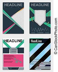 Set of abstract flyer design background. Brochure template.