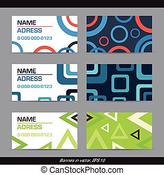 Set of abstract geometric business cards - circle, square, triangle. Vector illustration, EPS 10