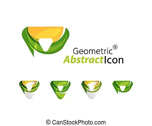 Set of abstract geometric company logo triangles, arrows
